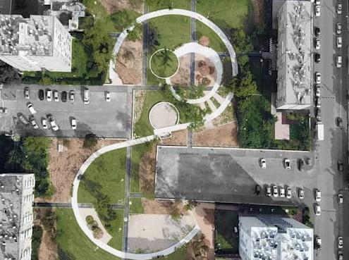 אב אדריכלי נוף-תכנון עדכני בשיכון בקריית ים יצר לב חדש בשכונה במקום מגרש חניה וגינה נטושה